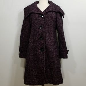 Soia & Kyo Purple Tweed Wool Blend Trench Coat Lrg